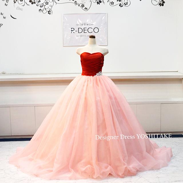 【オーダー制作】ウエディングドレス 赤サテン/ピンクオーガンジースカート 披露宴/お色直し ※制作期間3週間から6週間