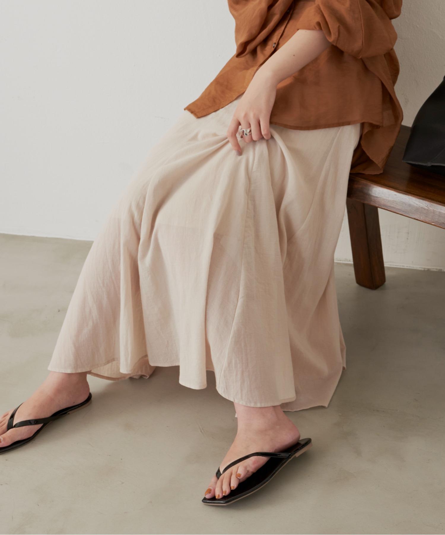 コットンフレアラインスカート/BEG