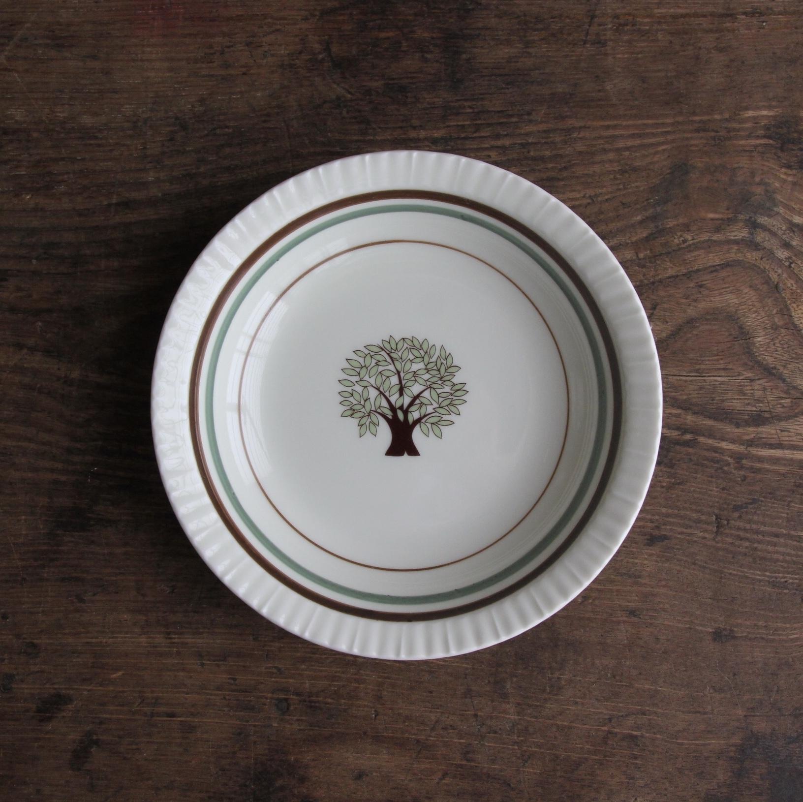 ツリー柄のレトロ小皿 在庫2枚