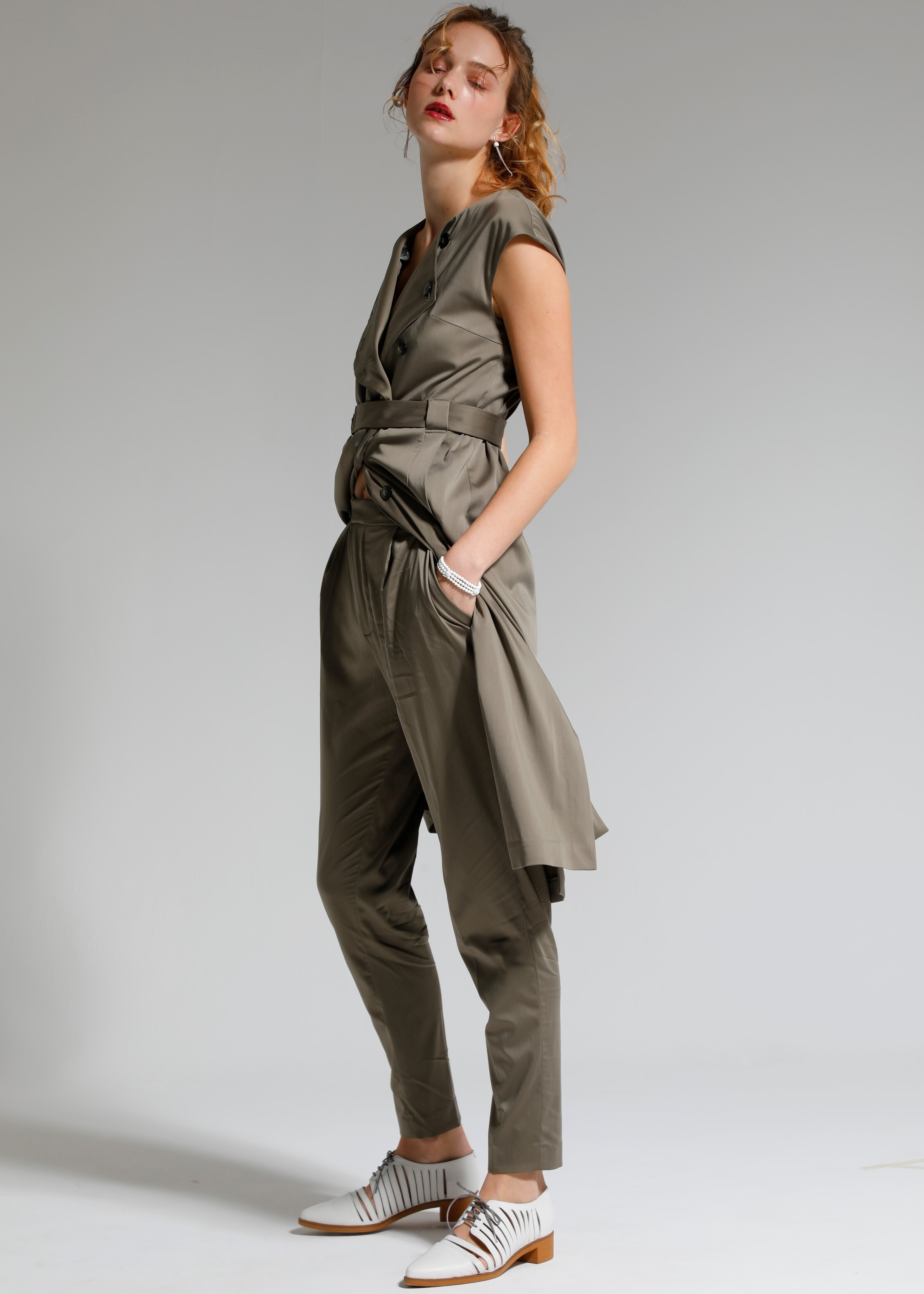 CUPRO SATIN TAPERED  PANTS