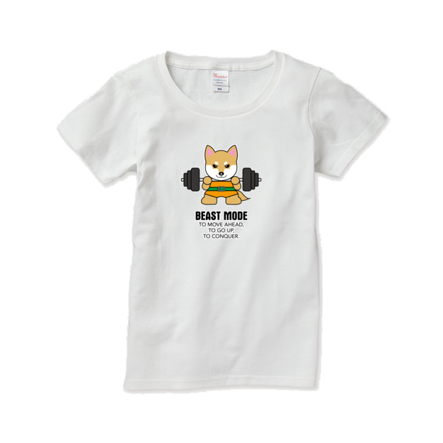Tシャツ レディース【BEASTMODE 柴犬】
