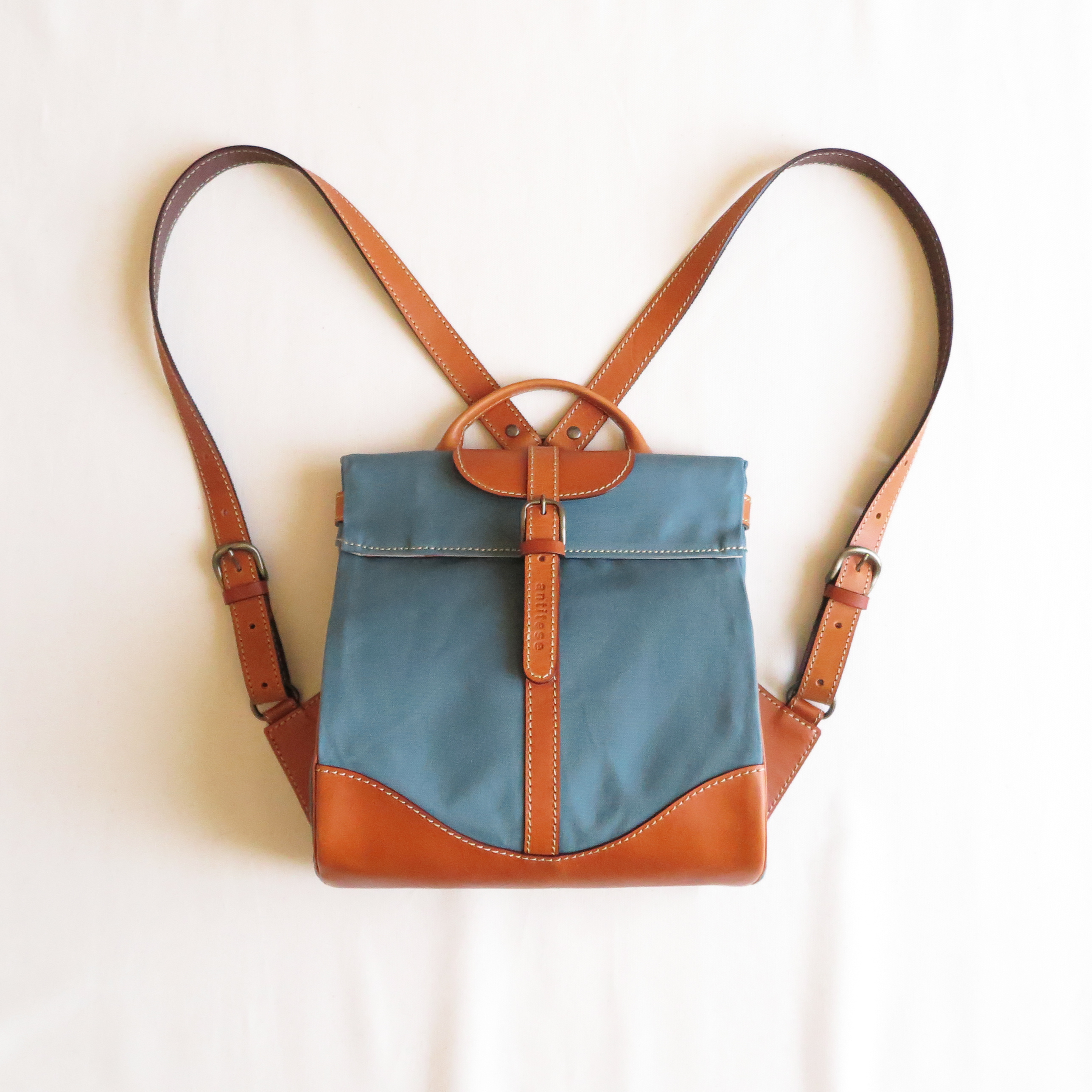Paraffin canvas back pack「Escargot」mini  BLUE