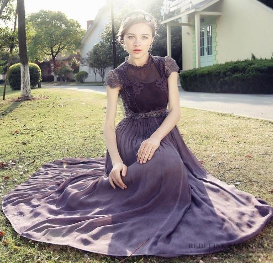 cc4fd71842e54 パーティードレス 韓国ワンピース 紫 パープル シフォン マキシワンピース ロングドレス フレアワンピ 結婚式 二次会 謝恩会 FS017801