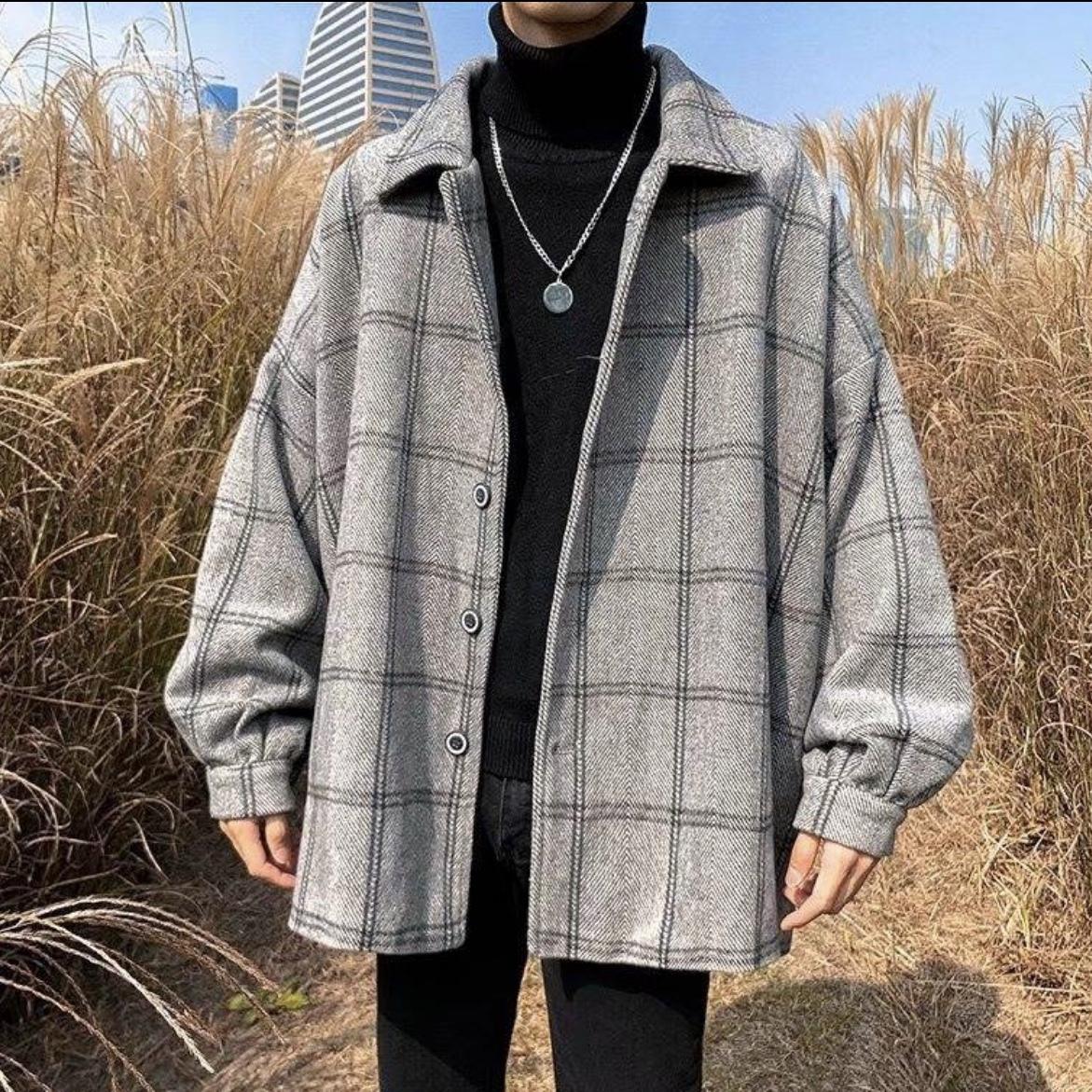 ビッグシルエット チェックジャケットコート 韓国風 秋冬