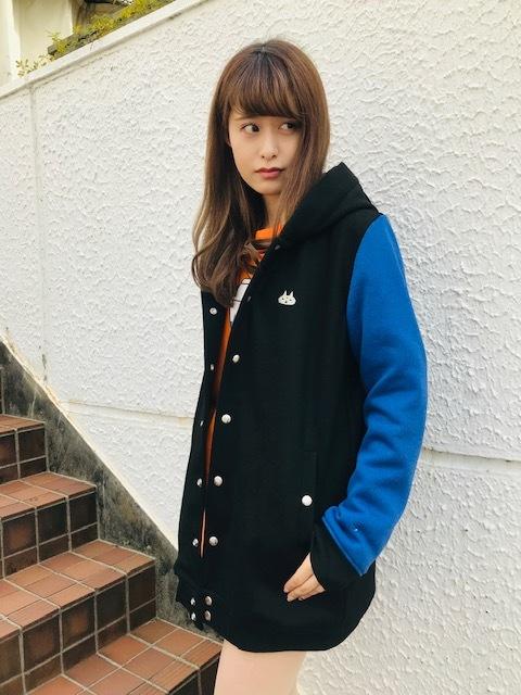フード付きスタジャン BK-BL