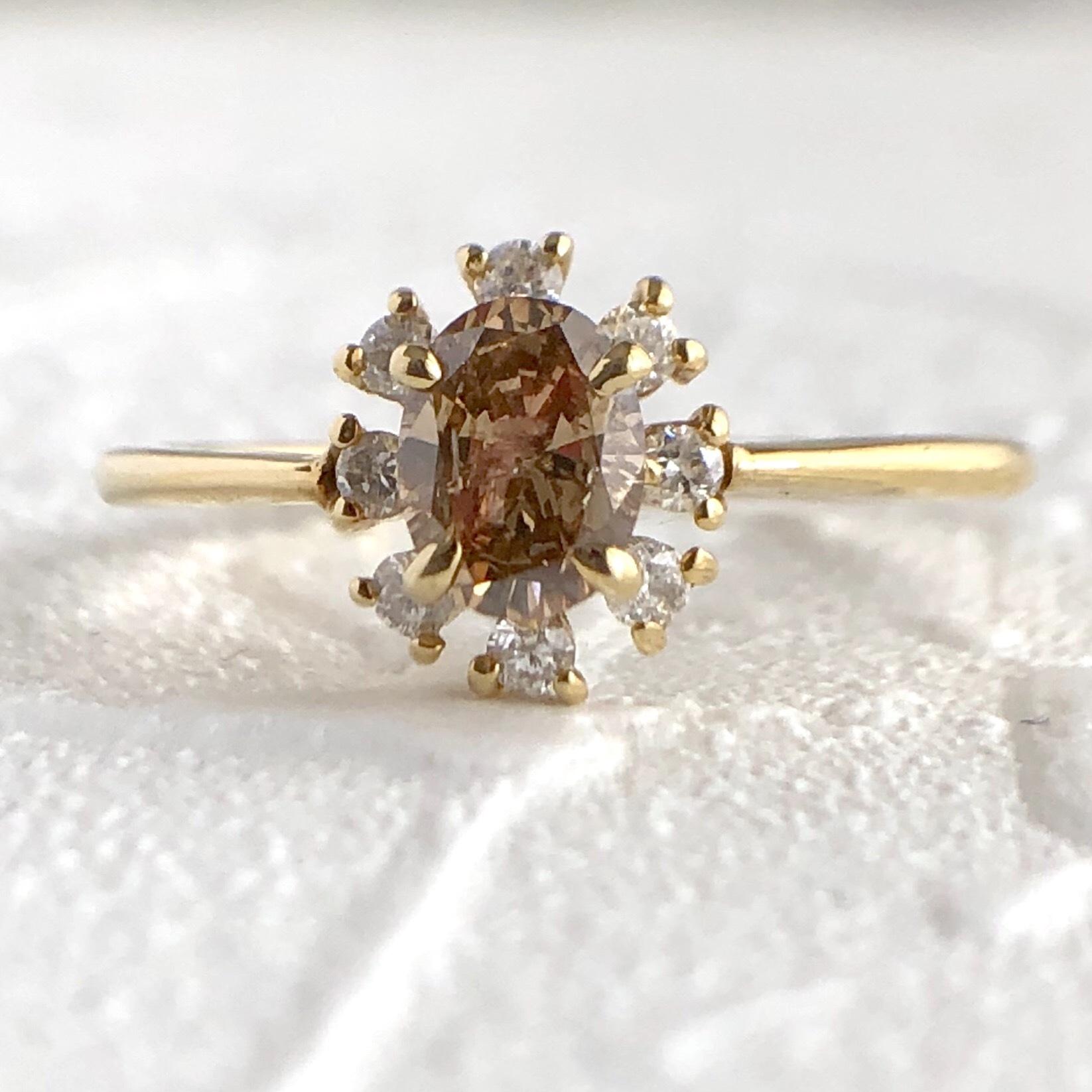 フラワーモチーフ ブラウンダイヤモンド  リング 0.388ct K10イエローゴールド チェカ 鑑別書付