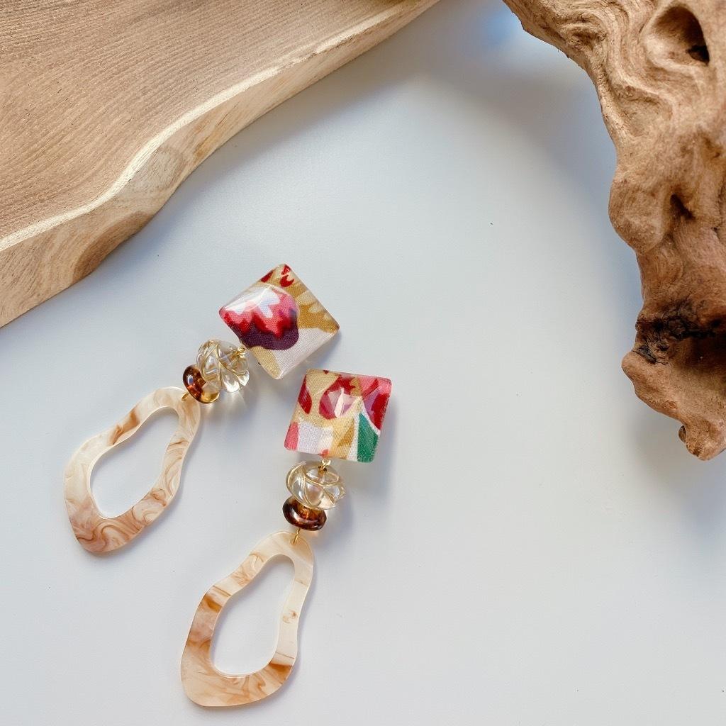 """"""" Earrings NO.danoan-122″ サファリテイストファブリック"""