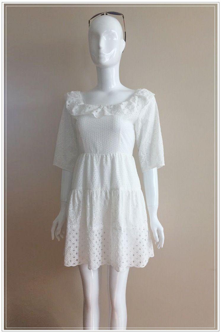 レース シフォン ワンピース 夏 スター シフォン ドレス 棘 スリム 薄い 刺繍 ステッチ ワード スカート T040056012