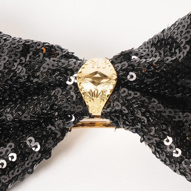 Joe18WT-13 spangle ring ribbon barrette(gold)
