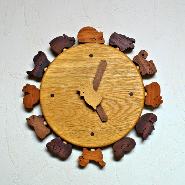 小黒三郎 猫と十二支の時計