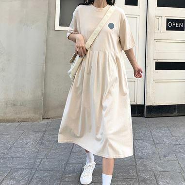ワンピースドレス 半袖ドレス ラウンドネック カジュアル デイリーユース Aライン ゆったり シンプル 無地 キュート  ブラック/アプリコット