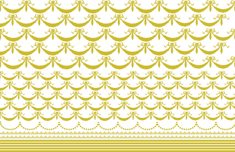 リボンガーランド&ライン A3サイズ ゴールド(ポーセリンアート用転写紙)