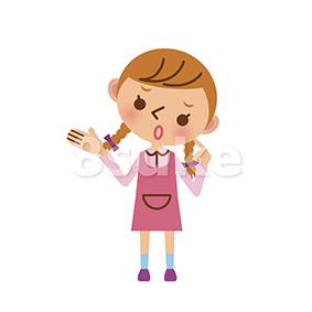 イラスト素材:困った表情で考える女の子(ベクター・JPG)