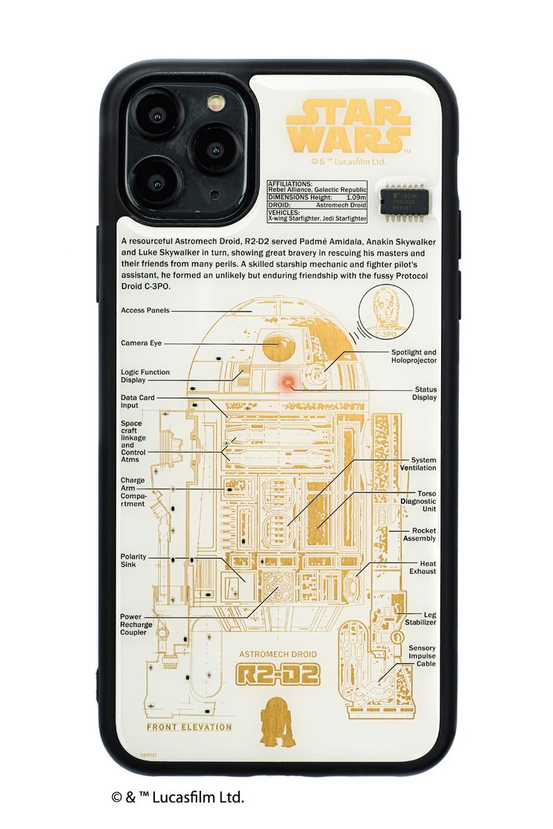 FLASH R2-D2 基板アート iPhone 11 ProMax ケース  白【東京回路線図A5クリアファイルをプレゼント】