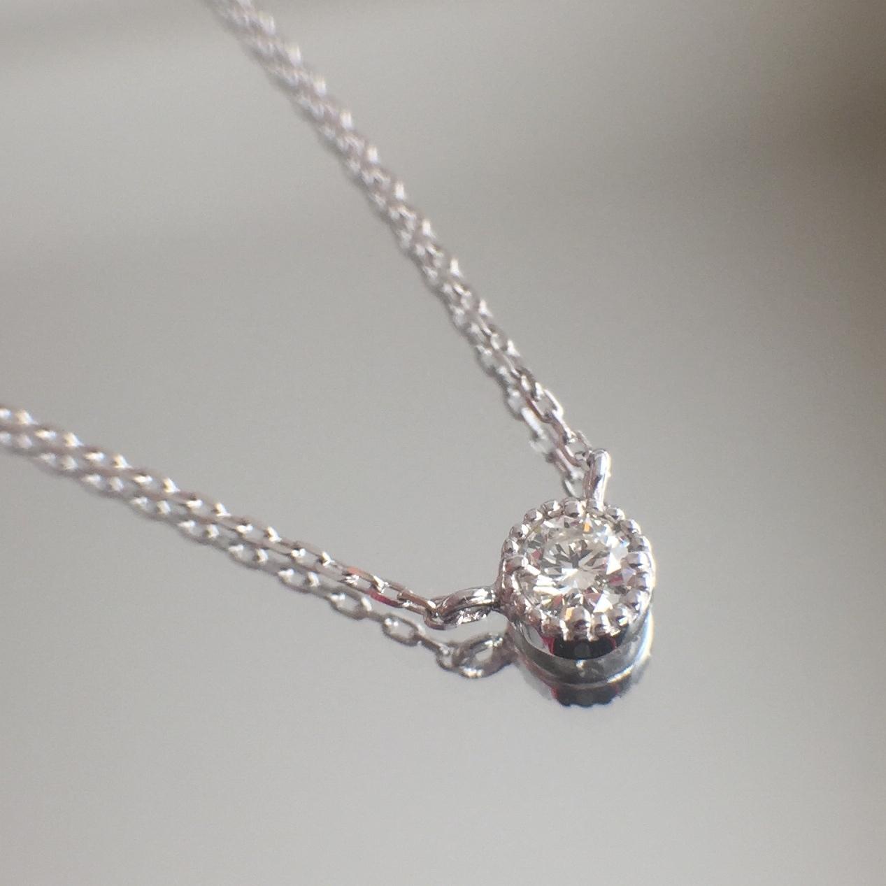 ダイヤモンド ペンダント ミルグレイン 0.07ct K10ホワイトゴールド  チェカ