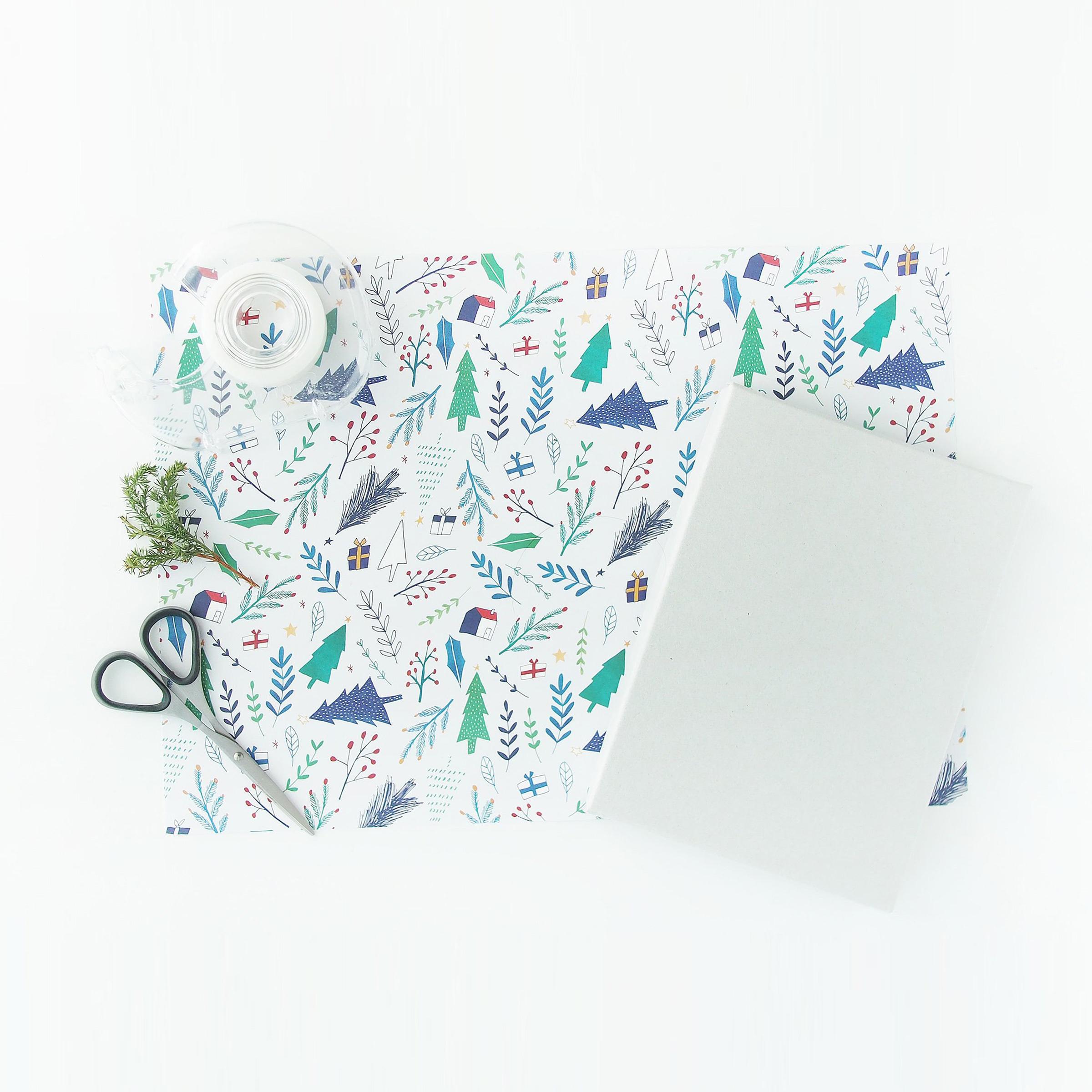 包装紙|青い冬