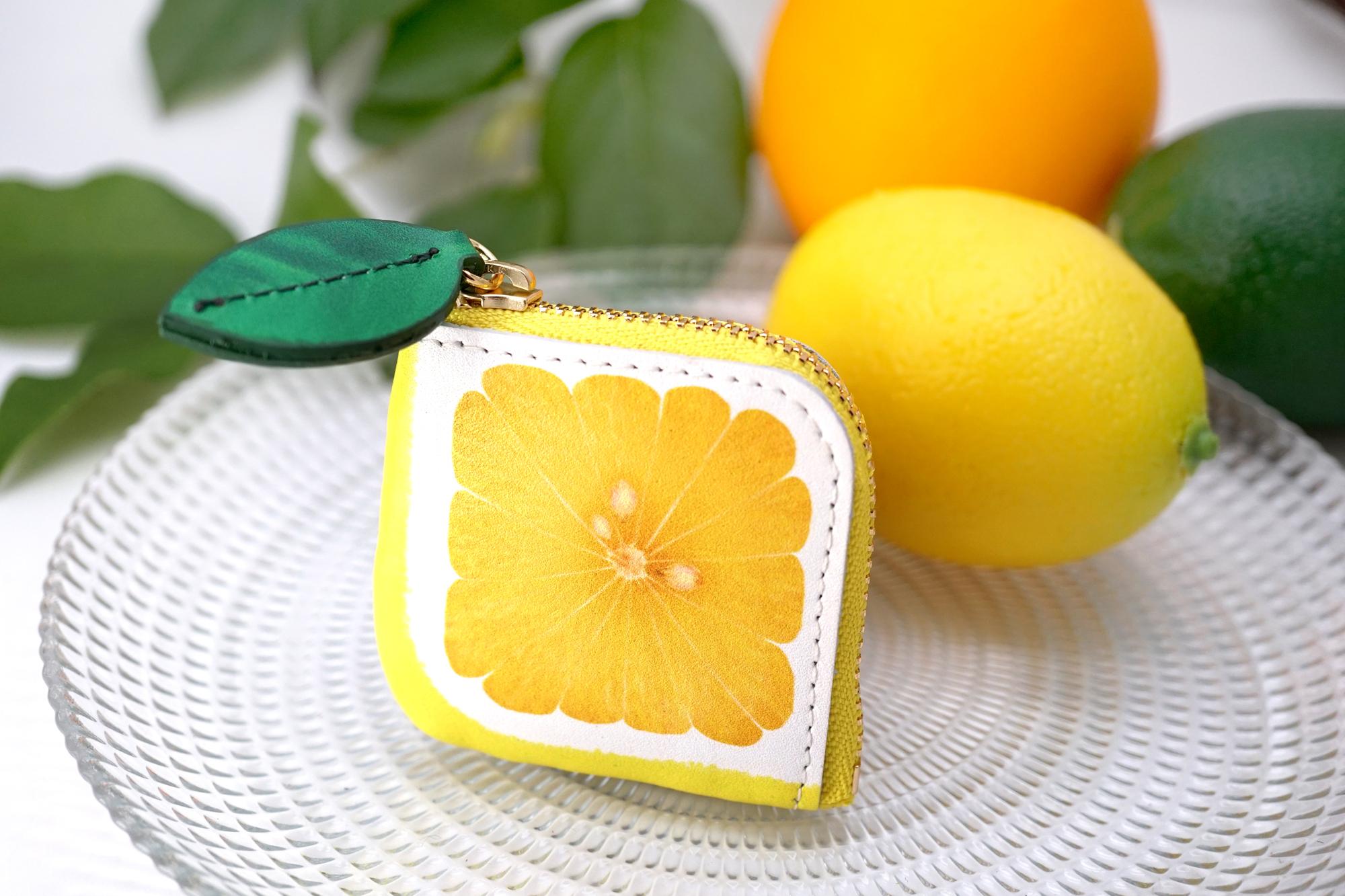ミニチュアL字ファスナー小銭入れ/レモン(牛革製)