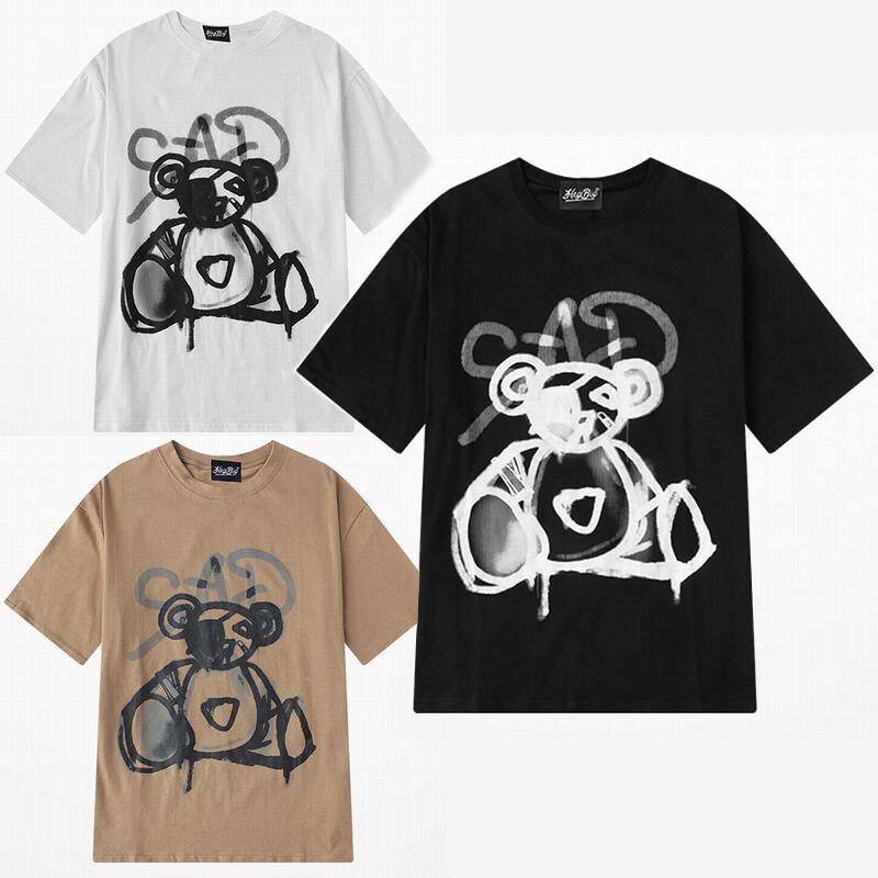 ユニセックス 半袖 Tシャツ メンズ レディース 落書き風 クマちゃん ベアー プリント オーバーサイズ 大きいサイズ ルーズ ストリート