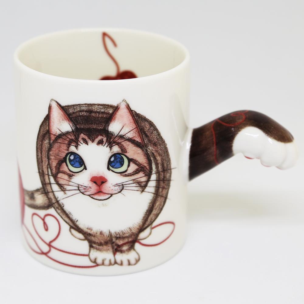猫マグカップ(肉球マグ)キジトラ