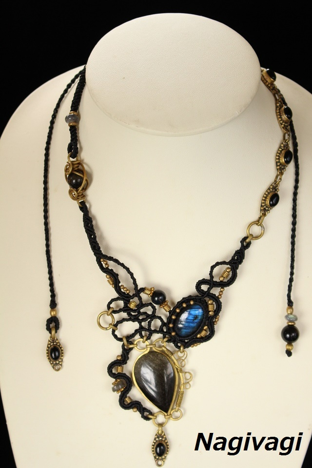 Goldenobsidian Labradorite brass wire necklace