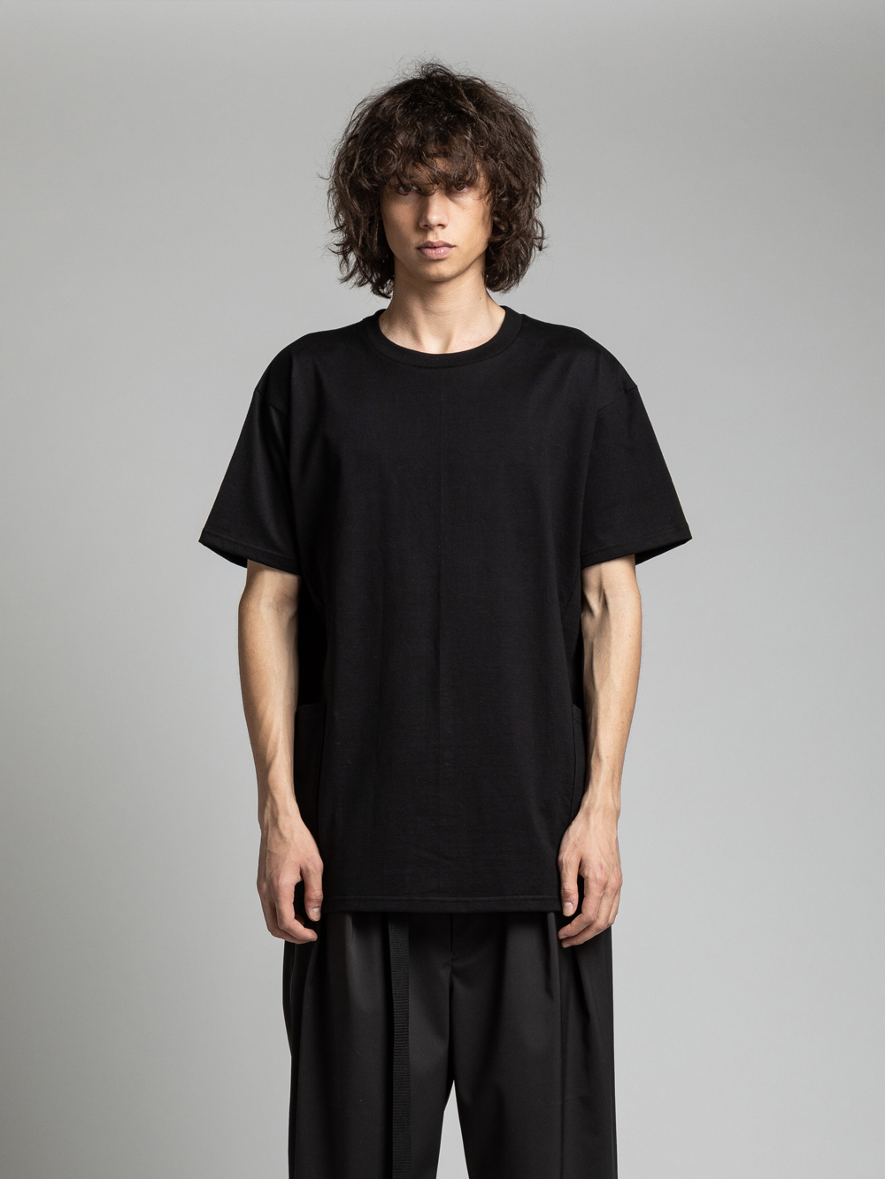 VI-3157-01 / 40/-天竺 裾ポケット 半袖カットソー