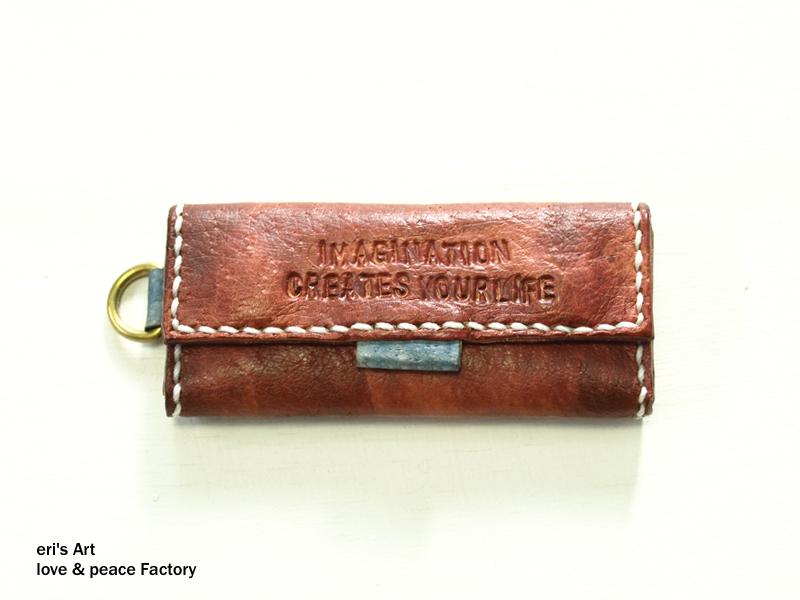 【サンプル品SALE】てのひらすっぽり財布 レッドブラウン×ブルーグレー OD-W-01-03-sale