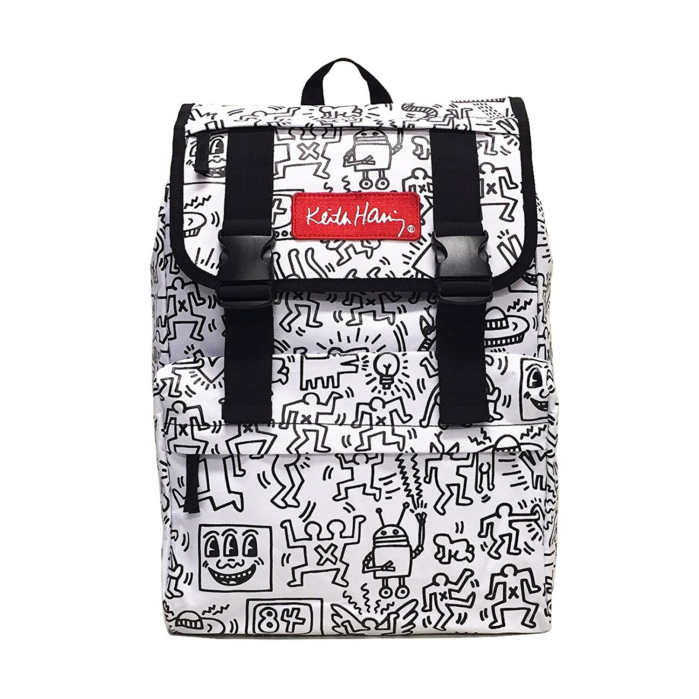Keith Haring(キース・ヘリング) 総柄フラップリュック バックパック White(ホワイト) CV15001