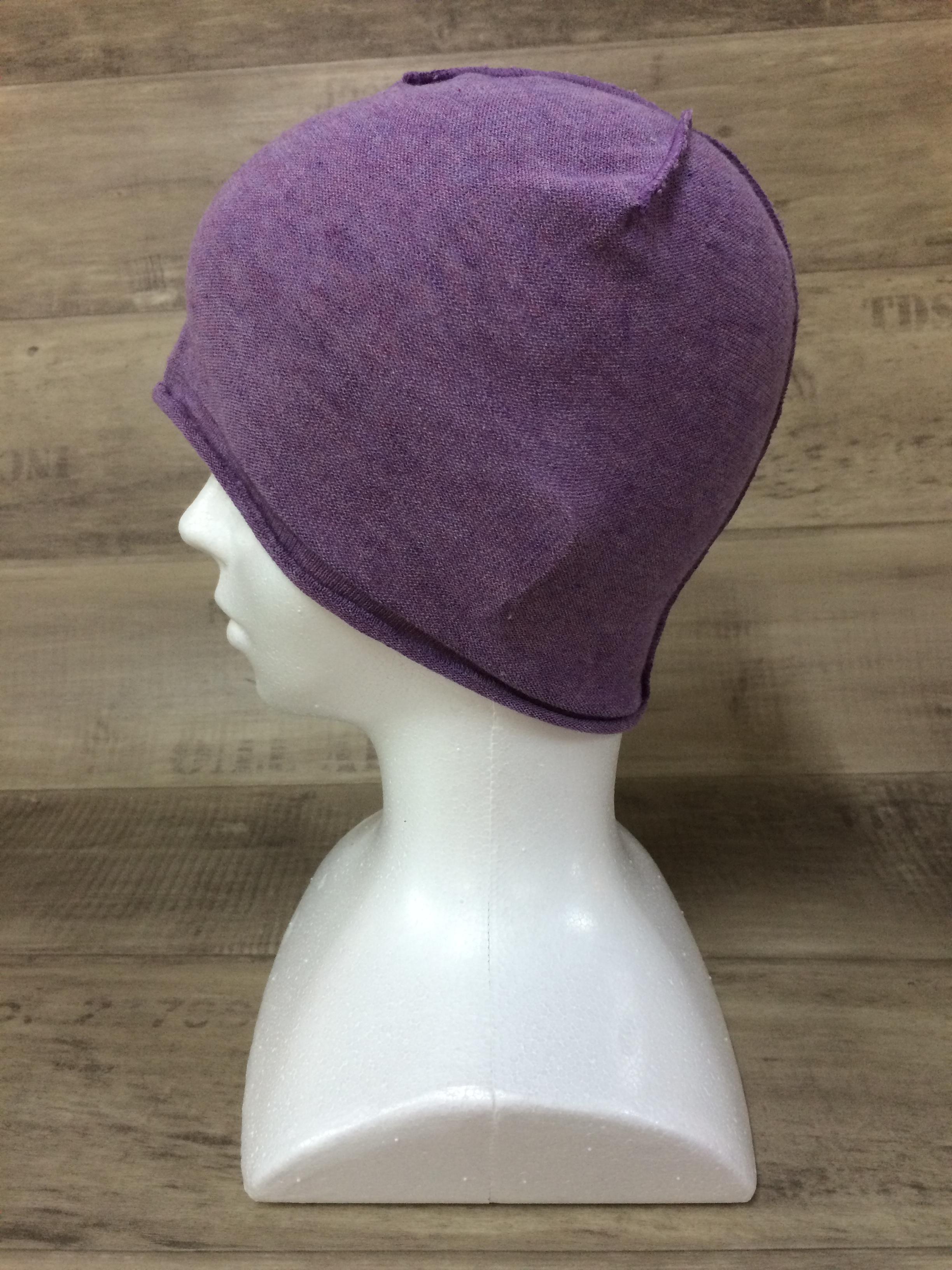 【送料無料】こころが軽くなるニット帽子amuamu|新潟の老舗ニットメーカーが考案した抗がん治療中の脱毛ストレスを軽減する機能性と豊富なデザイン NB-6057|紫芋 <オーガニックコットン インナー>