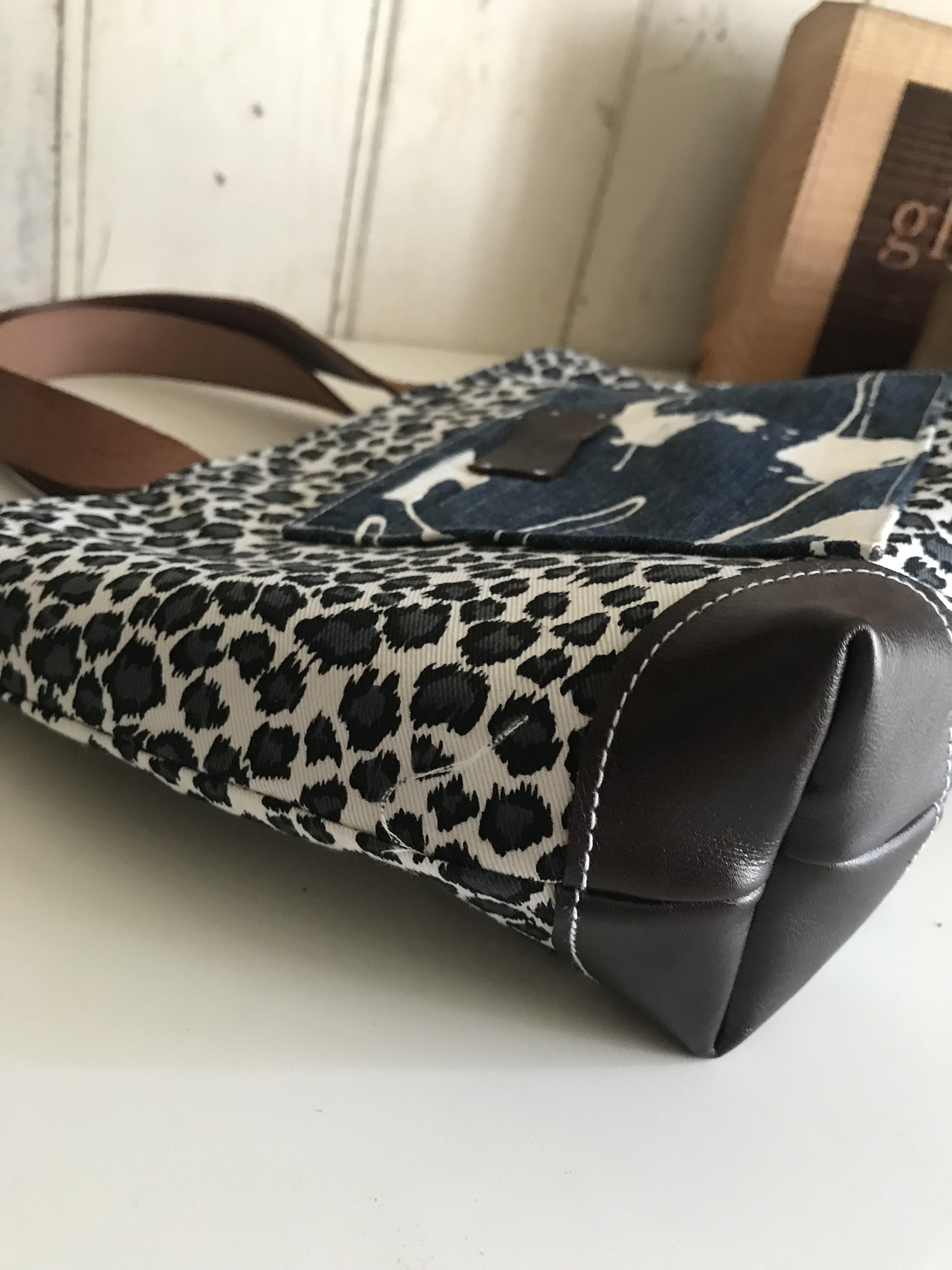 peint denim&leopard 帆布トート