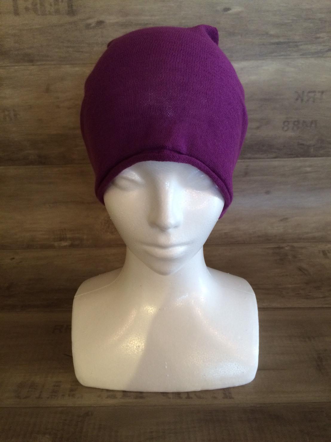 【送料無料】こころが軽くなるニット帽子amuamu 新潟の老舗ニットメーカーが考案した抗がん治療中の脱毛ストレスを軽減する機能性と豊富なデザイン NB-6060 京紫(きょうむらさき) - 画像4