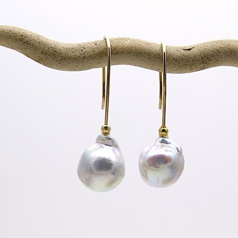 あこや真珠のバロックピアス OPi-044