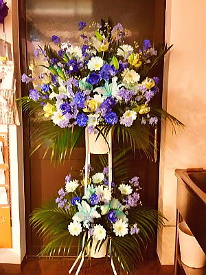 st030 スタンド花 ブルー系2段