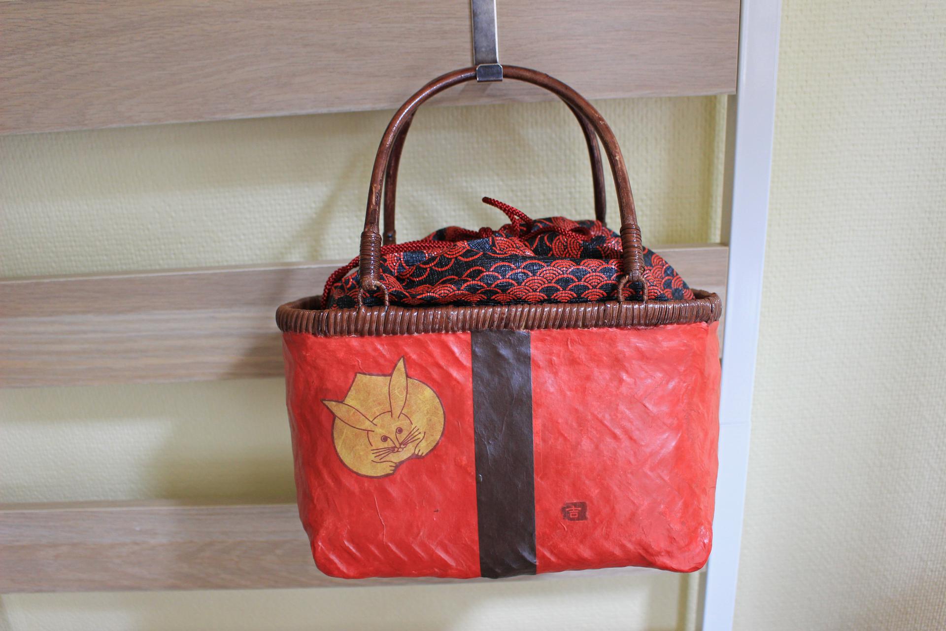 かごバッグS③+和紙巾着Lサイズ①セット <Basket size S③ with drawstring pouch size L①>