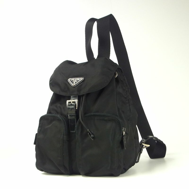 d91a1662f42a PRADA プラダ ナイロン ポコノ 巾着 三角 ロゴ メタルプレート リュックサック デイパック ブラック 黒 イタリア製