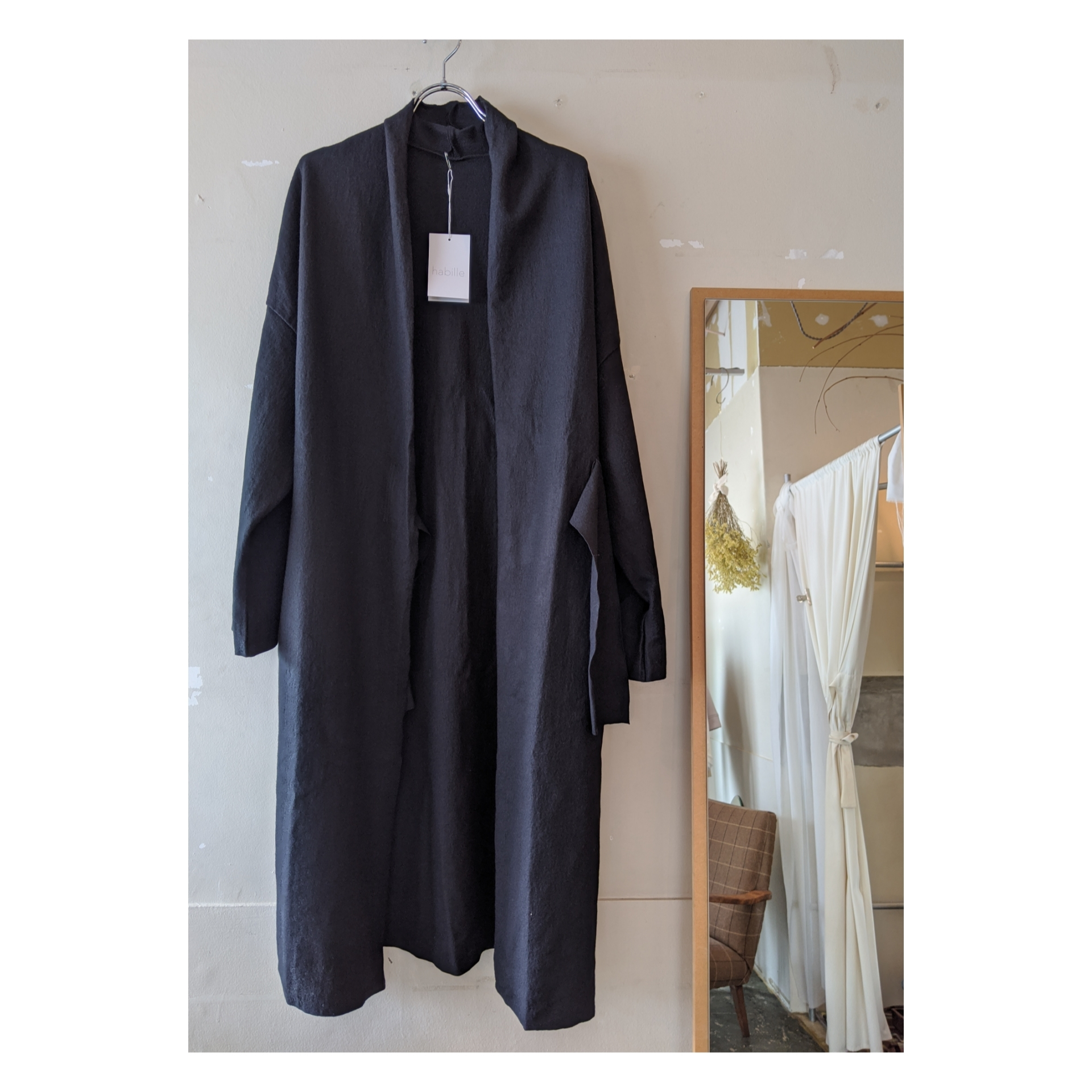 【 habille 】 gown coat / compressed wool / 圧縮ウール / ウールコート / BLACK