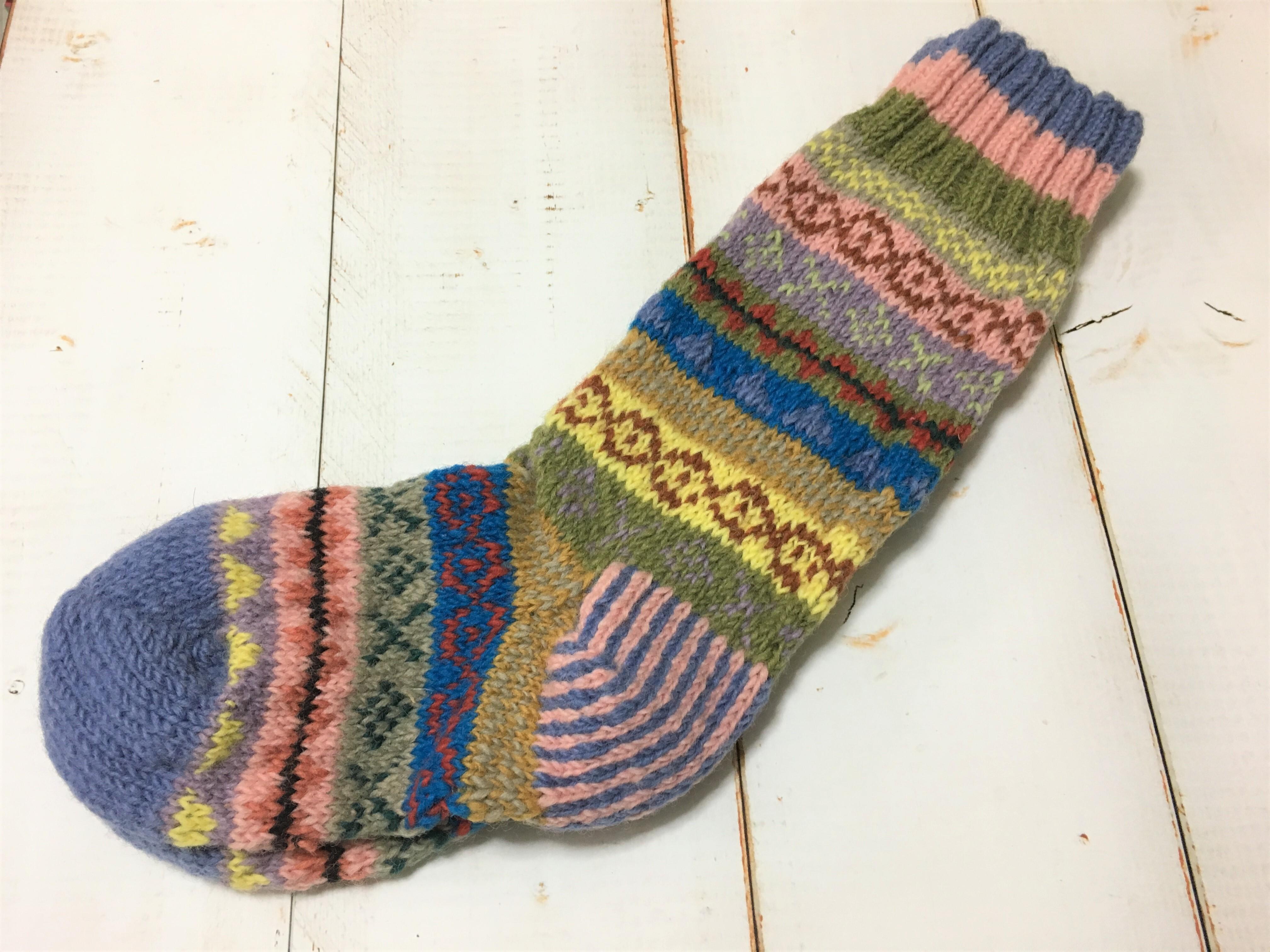 ネパール手編みソックス・グリーン
