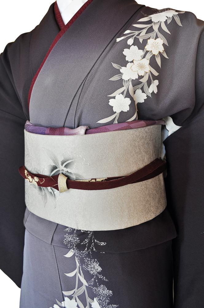 訪問着レンタル■紺色と灰色の片身違いに流れるような桜の花柄■正絹フリーサイズhu7〔往復送料無料〕 - 画像3