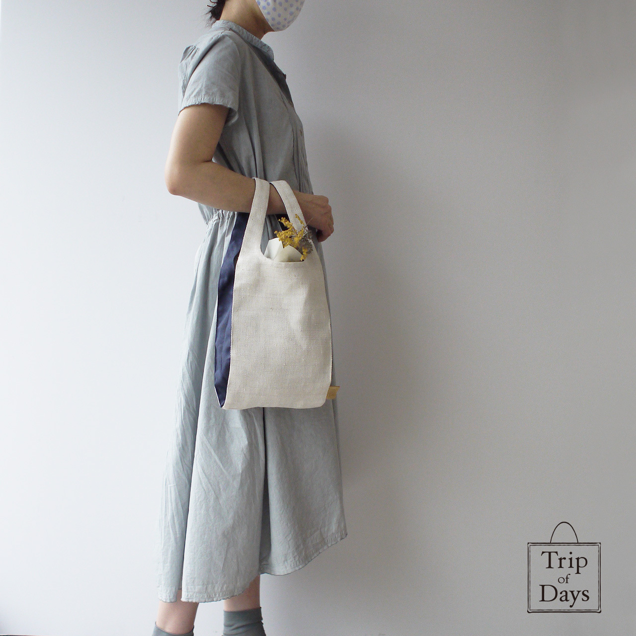 one mile bag   size S   白 × 紺