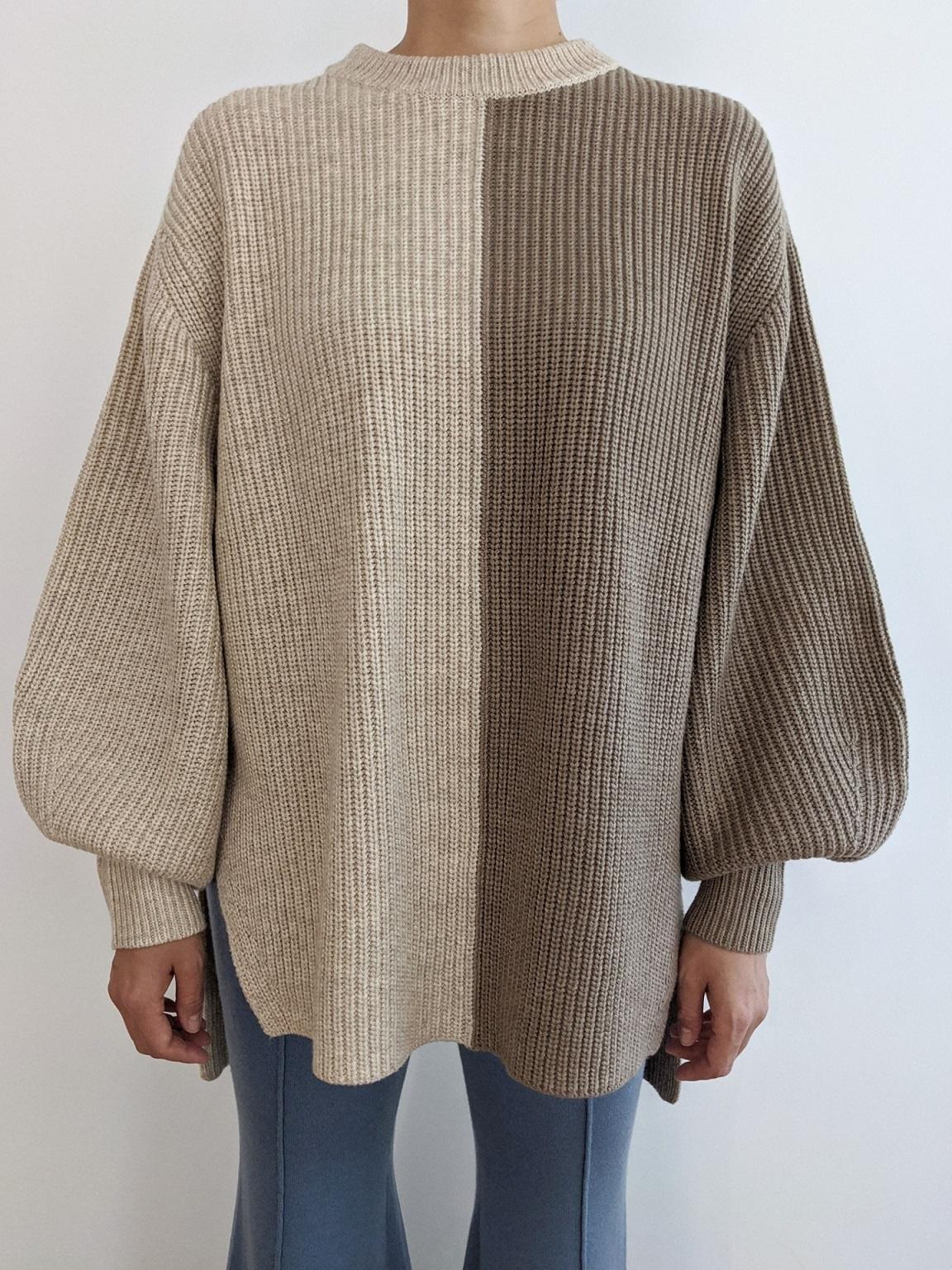 Bicolor Pullover - Sand/Beige
