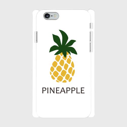 iPhone6/6sスマホケース☆PINEAPPLE×WHITE ☆側表面印刷ツヤ有り(コート)