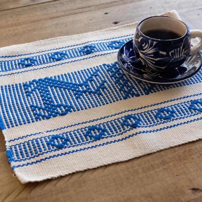 手織りのランチョンマット / Blue /211b/ MEXICO メキシコ