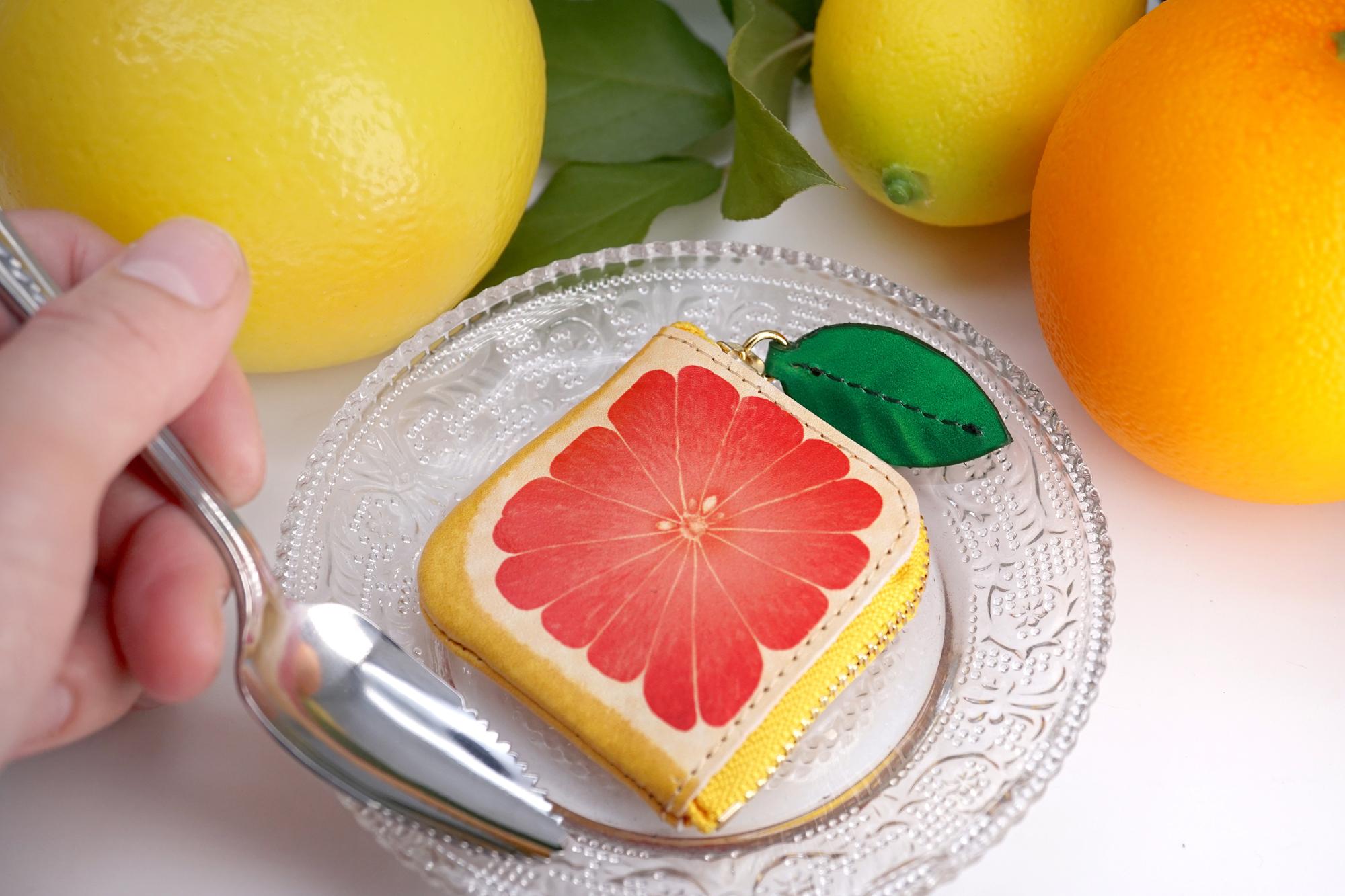 ミニチュアL字ファスナー小銭入れ/ピンクグレープフルーツ(牛革製)