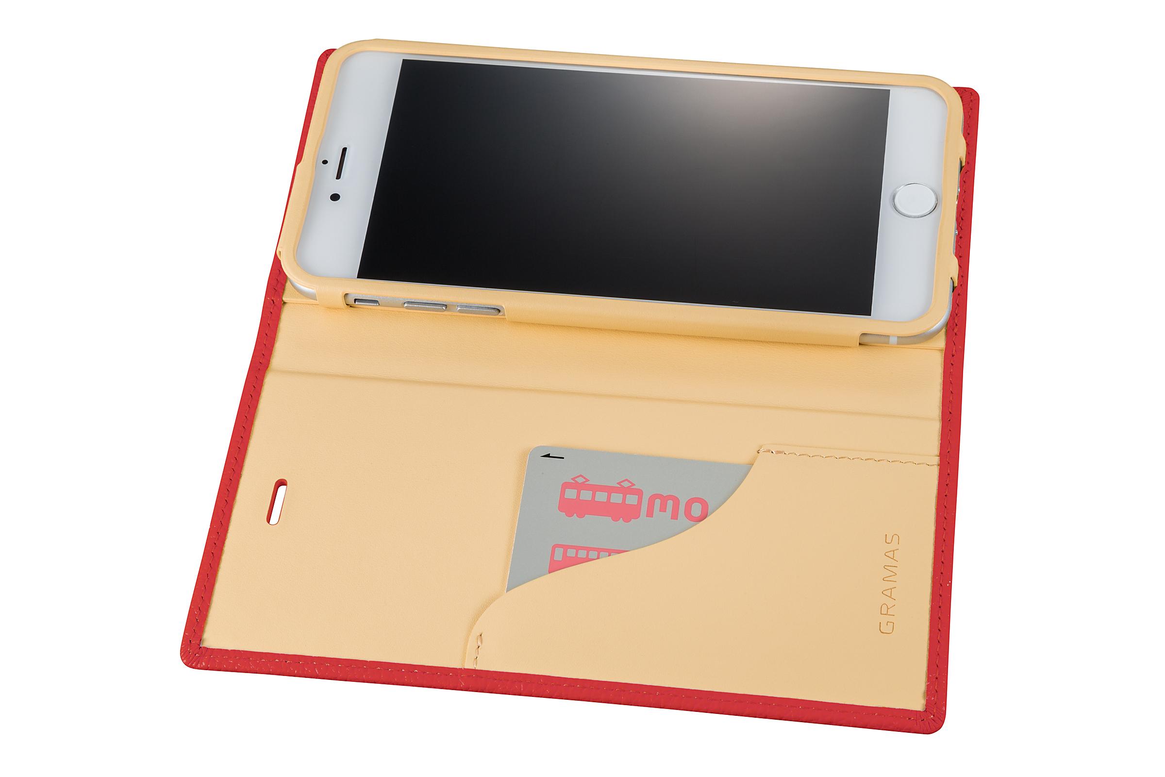 GRAMAS Shrunken-calf Full Leather Case for iPhone 7 Plus(Pink) シュランケンカーフ 手帳型フルレザーケース - 画像4