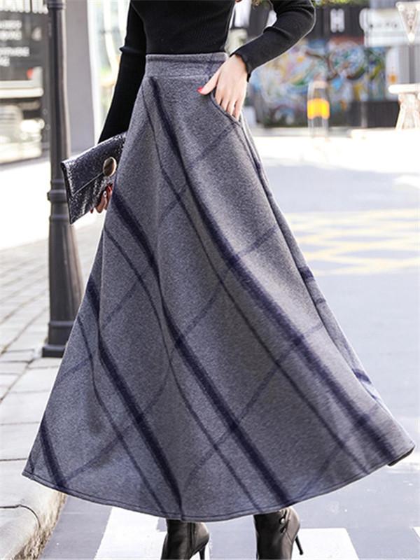 【ボトムス】秋冬綿長め太めの大きなスイングスカート