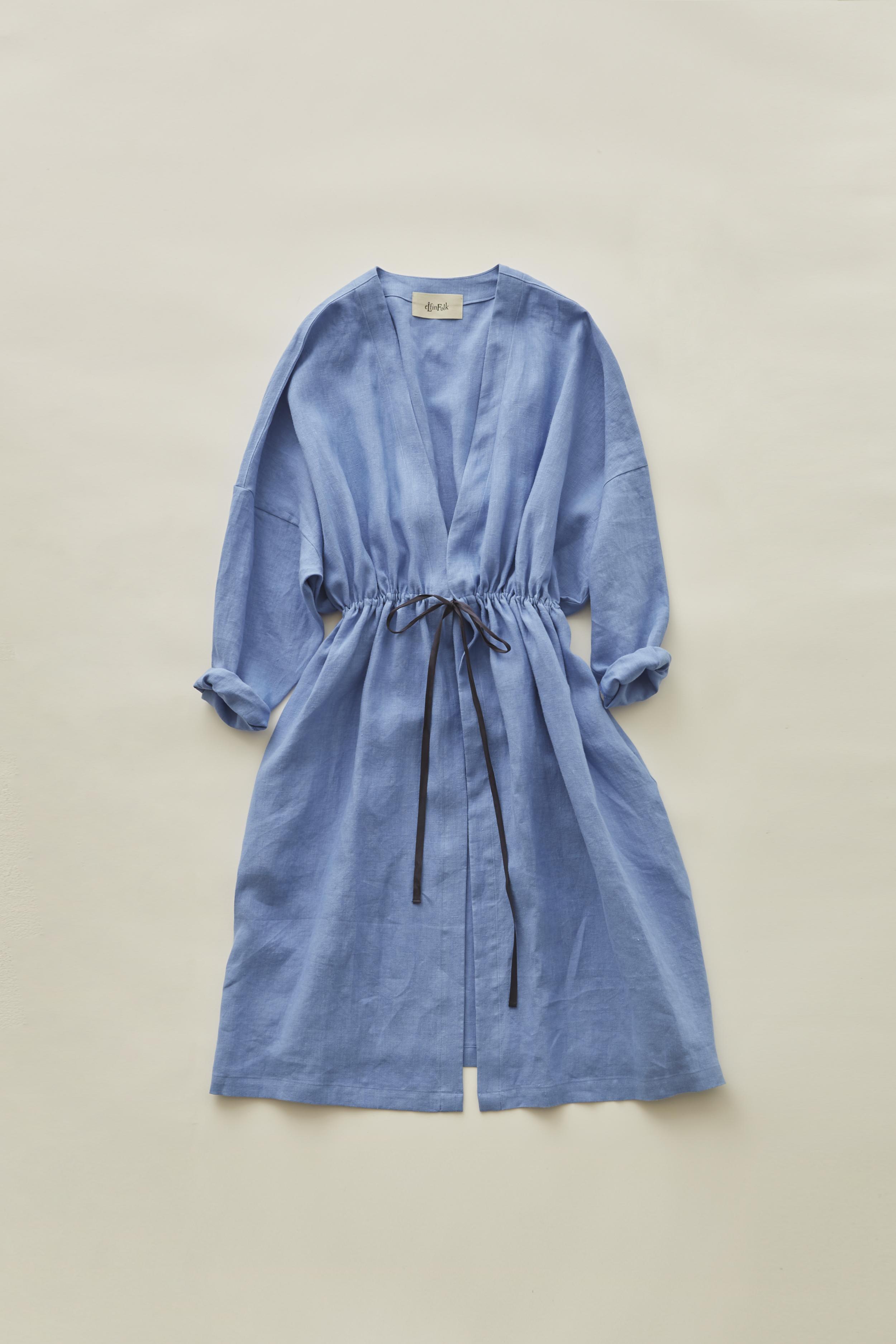 《eLfinFolk 2020SS》linen gown coat / sky blue / F(大人)