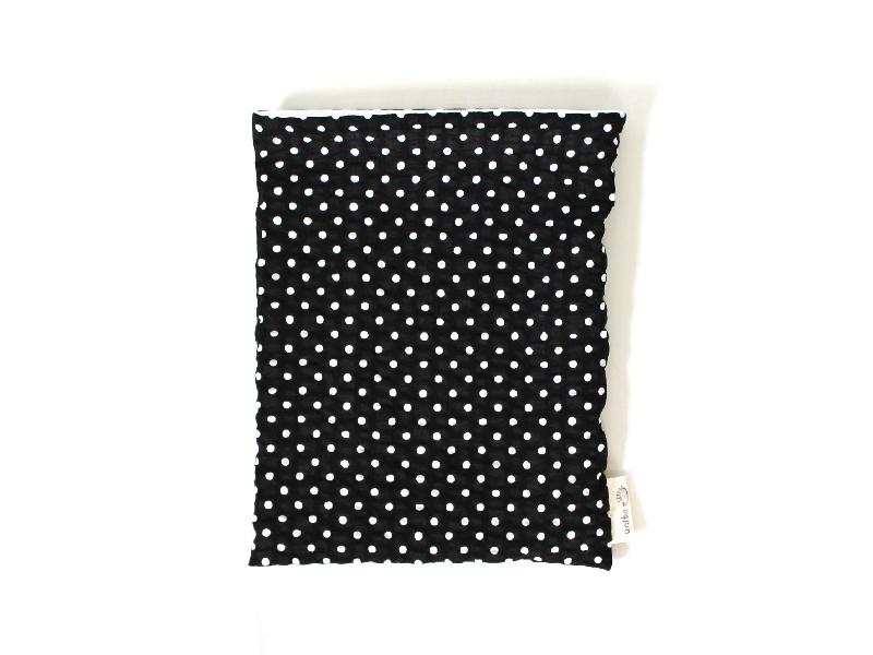 ハリネズミ用寝袋 M(夏用) 綿リップル×スムースニット ドット ブラック