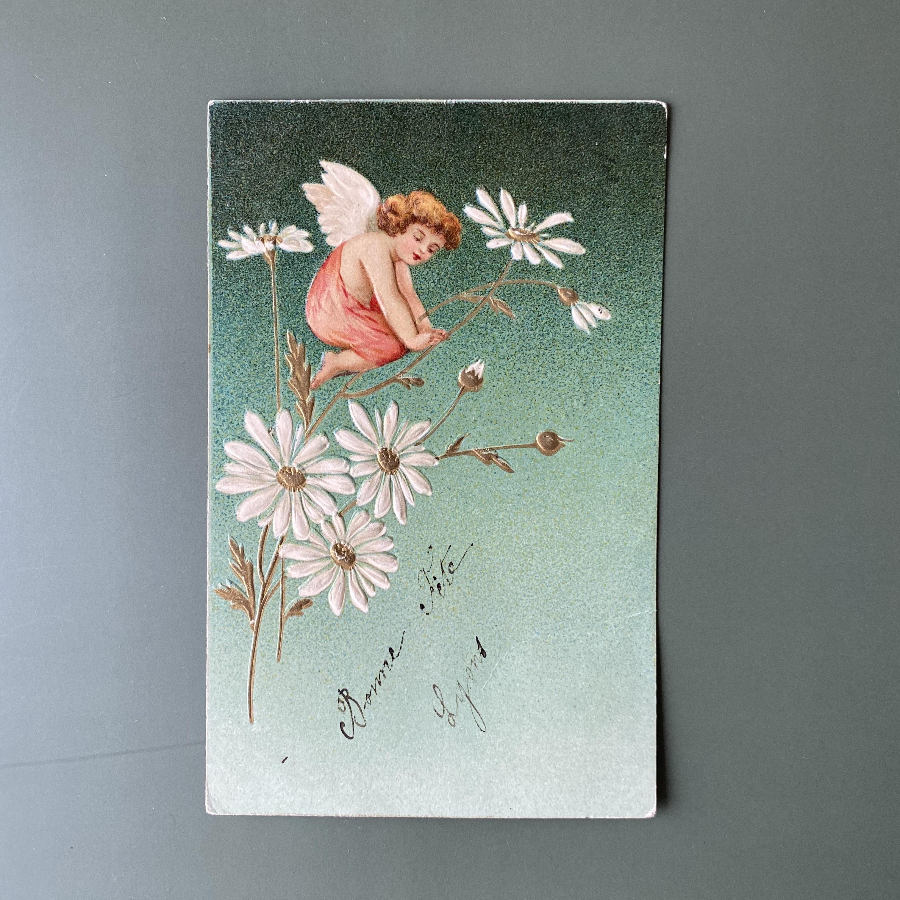 アンティーク 天使のポストカード b  /  vp0199