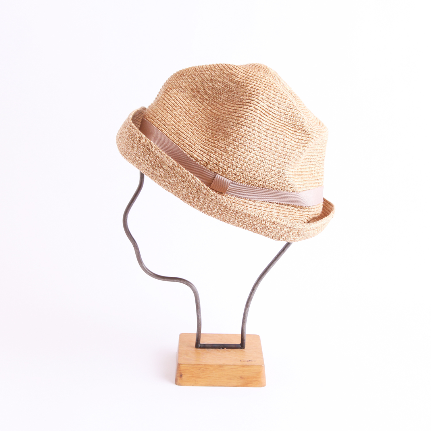 mature ha./BOXED HAT 104 mixbrown×pink beige
