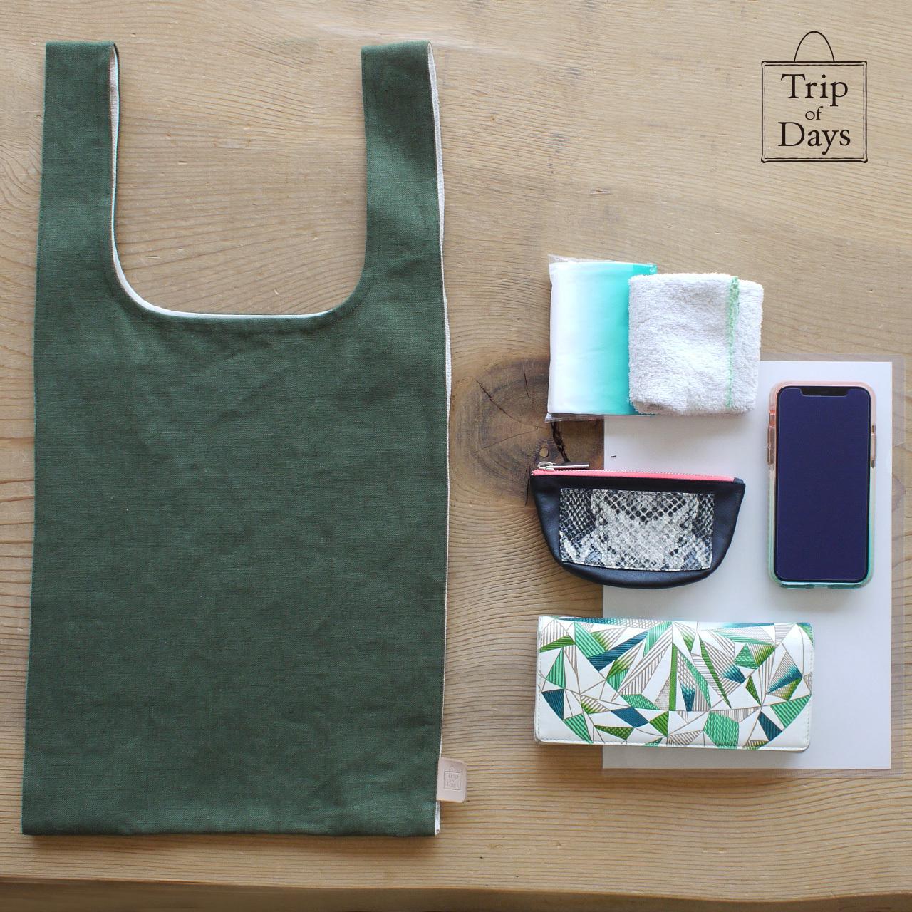one mile bag   size L2   深緑 × 生成しま