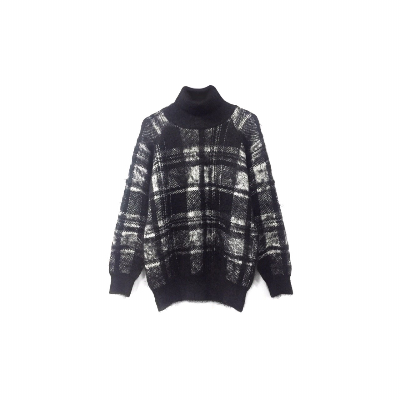 LE CIEL BLUE - Mohair Check Turtleneck Knit ¥9500+tax→¥6500+tax